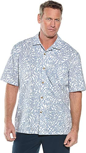(Coolibar UPF 50+ Men's Safari Camp Shirt - Sun Protective (X-Large- Blue Etched Leaf))
