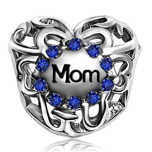 JMQJewelry Heart Mom Love Blue September Charms Beads for Bracelets Mother's -