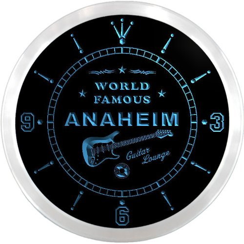 Anaheim Neon Sign - ncpf2104-b ANAHEIM Famous Guitar Lounge Beer LED Neon Sign Wall Clock