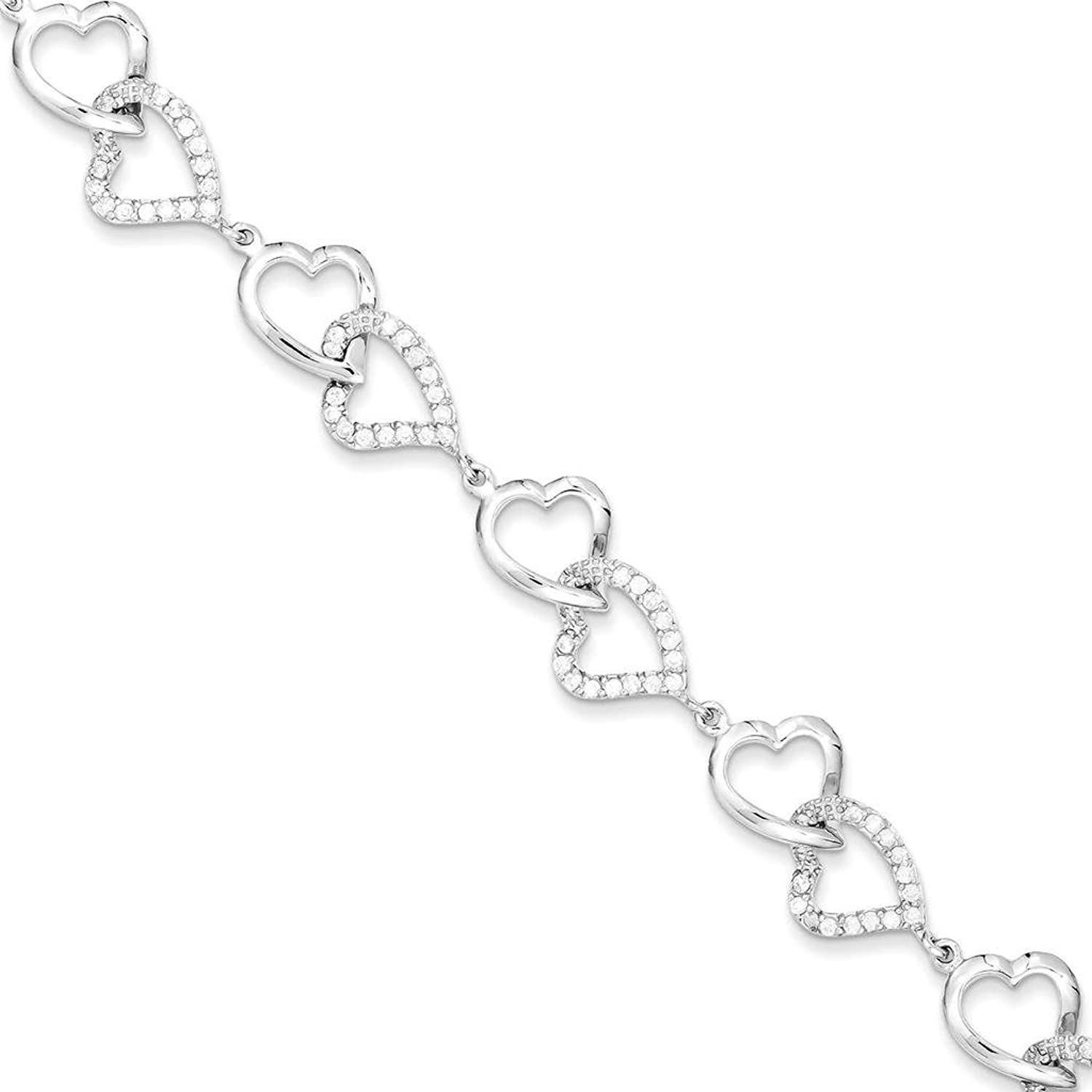 """925 Sterling Silver Rhodium-plated Polished & Textured CZ Heart Tennis Bracelet 7.75"""""""