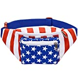 Kayhoma USA American Flag Fanny Pack America Stars and Stripes Bum Bags Festival Rave Waist Bag Feature: 1. Adjustable Belt for all Sizes: Our waist belts will fit up to 44 inches. We ensure that our fanny packs work for people of all sizes. 2. When ...