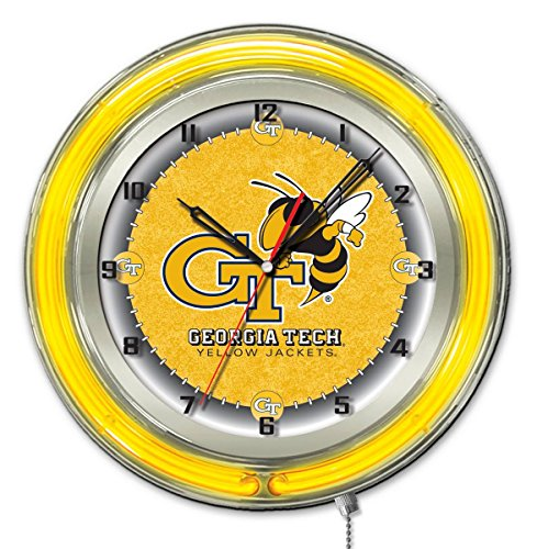 "Holland Bar Stool Co. Georgia Tech Yellow Jackets HBS Neon Yellow Battery Powered Wall Clock (19"")"