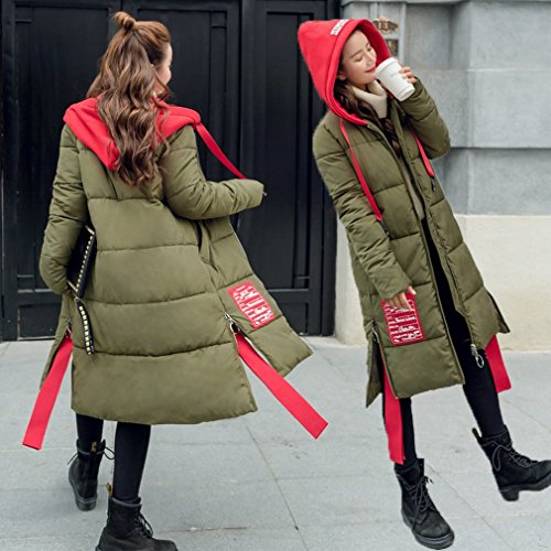 Coat green Hood Jacket Jacket Winter Casual down Olive Little Wild Red Riding Long Lady Students Stitching UHq70Znqg