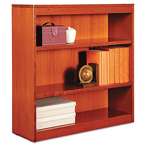 Alera BCS33636MC Square Corner Wood Veneer Bookcase, 3-Shelf, 35-3/8 x 11-3/4 x 36, Medium Cherry