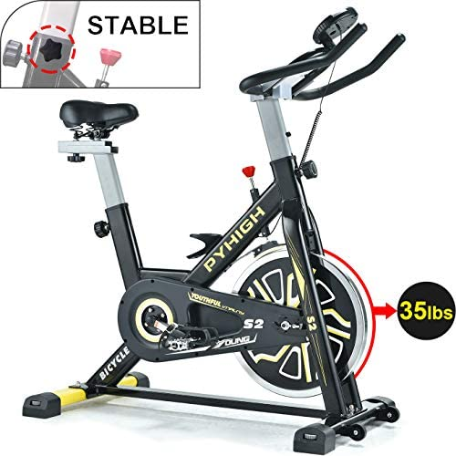 PYHIGH Indoor Cycling Bike Belt Drive Stationary Bicycle Exercise Bike