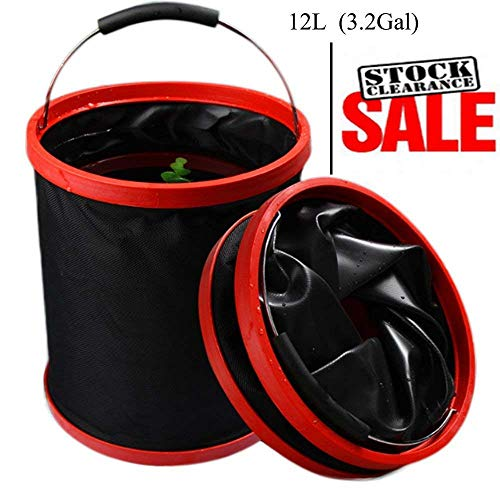 VKOSHA Collapsible Bucket , Water Bag 12L 2000 D Oxford Cloth Multi-functional Fold-able, Portable Travel Outdoor Wash Basin,Perfect for Camping, Hiking, Travel, Fishing, Car Washing, Flower Watering ()