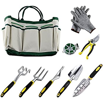 9Pcs Garden Tool Sets A Plant Rope,Soft Gloves,6 Ergonomic Gardening Tools  And A Garden Tote