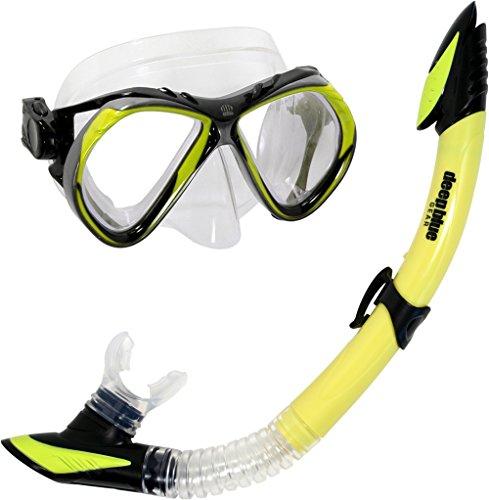 (Deep Blue Gear Del Sol 2 Diving Mask and Semi-Dry Snorkel Set, Adult, Yellow )