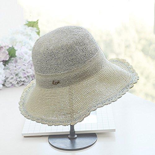 El De Ymfie Protección F Al Ocio Amplio Paja Borde Plegable Pescador Libre g Moda Solar Verano Aire Señoras Hat Playa Para Sombrero Sol 445qr6H