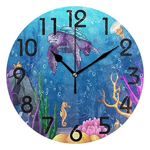 Dozili Trendy Beautiful Underwater World Sea Turtle Fish Coral Print Round Wall Clock Arabic Numerals Design Non Ticking Wall Clock Large for Bedrooms,Living Room,Bathroom