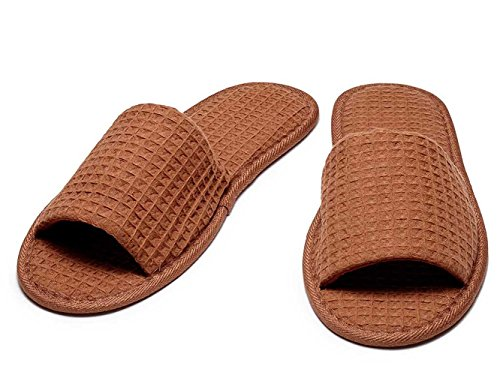 Open Brown Cottonage Adult Slippers Toe Waffle 15Bxva