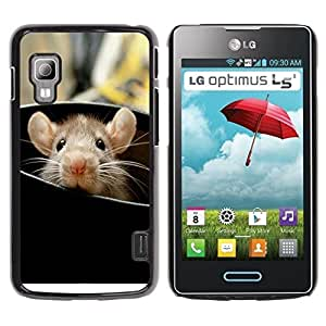 Be Good Phone Accessory // Dura Cáscara cubierta Protectora Caso Carcasa Funda de Protección para LG Optimus L5 II Dual E455 E460 // Rat Cute Rodent Peeking Big Ears Animal