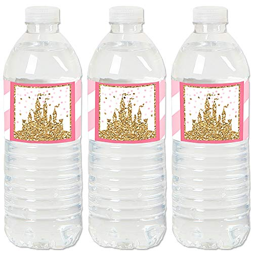 Little Princess Crown - Pink and Gold Princess Baby Shower or Birthday Party Water Bottle Sticker Labels - Set of -