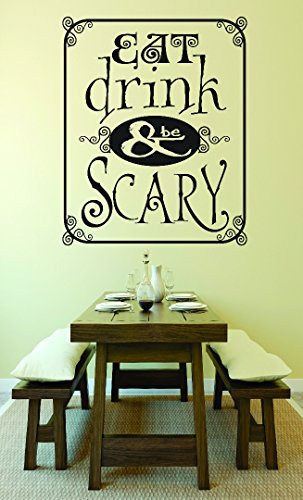 Design with Vinyl RAD 779 2 Eat Drink & Be Scary Kitchen Sign Halloween Holiday Wall Decal, Black, 16 x 24