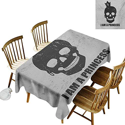 I am a Princess Stain-Resistant Tablecloth Skull with a Crown Skeleton Halloween Theme Grunge Look Easy to Clean W60 x L90 Charcoal Grey and Pale Grey ()