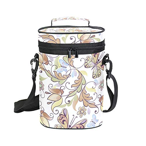 (FAJRO Wine Carrier Tote Bag Art Baroque Flower Painting Two Bottle Insulated Wine/Water Bottle Holder for Travel with Carry Handle)
