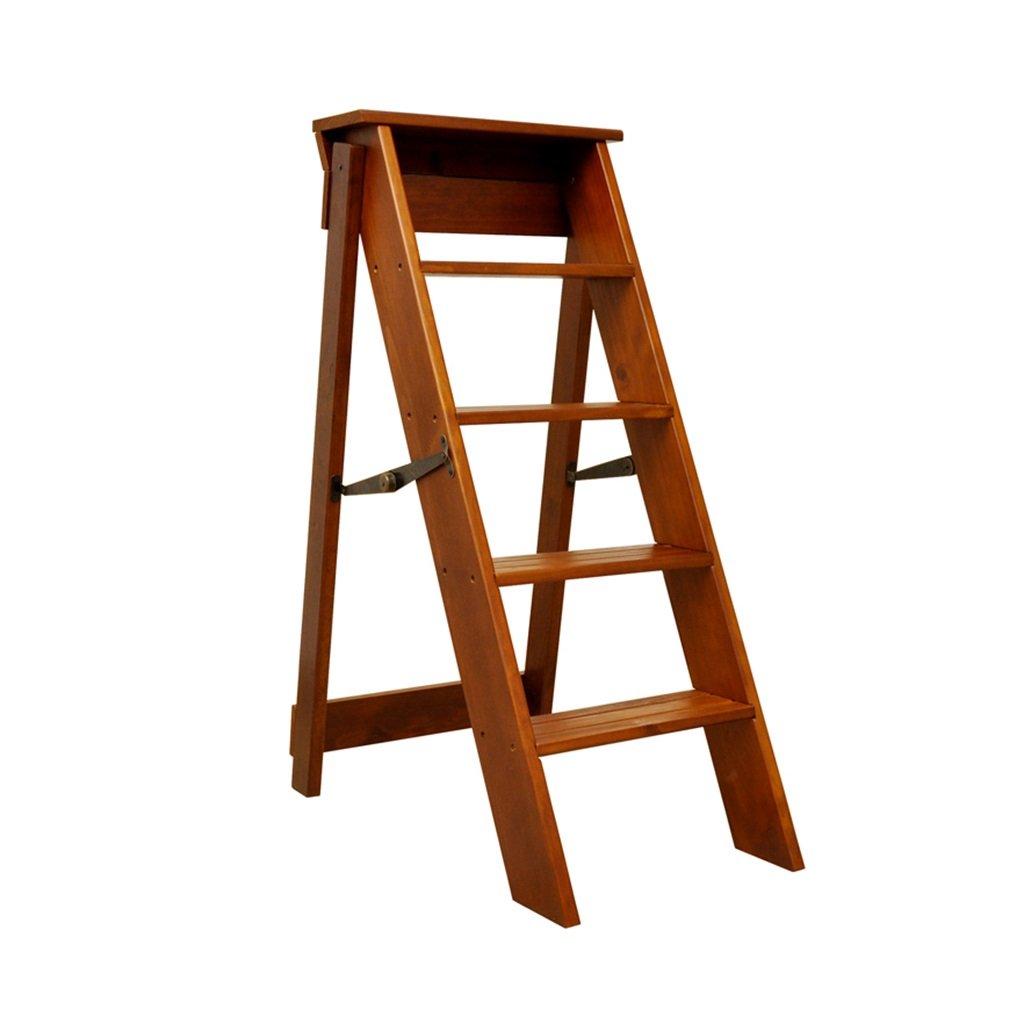 RTY-STOOL Sgabello in legno massello- 5 strati multifunzionali in legno massiccio scalino scaletta sgabello pieghevole scaffale sedia (Colore : A)