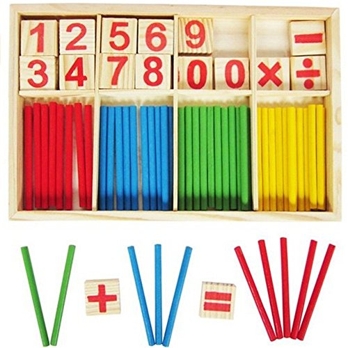 NERLMIAY Wooden Digital rod counting rods Number Cards and Counting Rods with Box