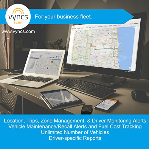 VyncsFleet: GPS Tracker No Monthly Fee, OBD, Real Time 3G Fleet Tracking, 1 Year Data Plan Included, Trips, Vehicle Diagnostics, Driver Safety Alerts, Fuel Report, Emission Report by VyncsFleet (Image #1)