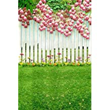 Pink Flowers On White Fence 8' x 12' CP Backdrop Computer Printed Scenic Background GladsBuy Backdrop ZJZ-796