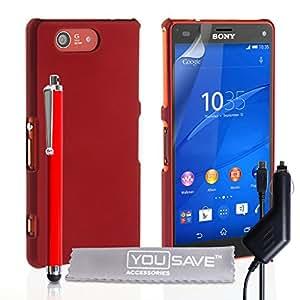 Yousave Accessories Compact carcasa híbrida rígida y lápiz capacitivo y cargador de coche para Sony Xperia Z3 - rojo