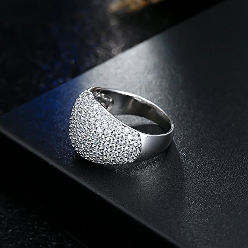 White Diamond Accent Dome Ring - Cluster Cubic Zirconia Paved Statement Wide Bands Size 5-11 by Hiyong (Image #4)