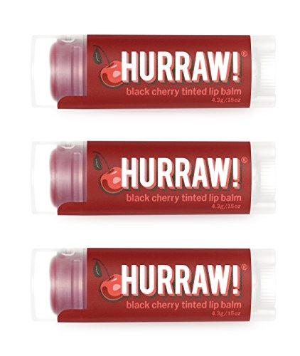 Hurraw Black Cherry Tinted Lip Balm, 3 Pack