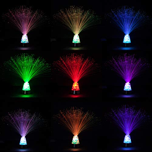 Fiber Optic Lamp - 3AAA Battery Or UBS for Fiber Optic Light, Fiber Optic Light with Iridescent Gemstone Changes, Touch Switch, Control 4 Kinds of Rainbow Illumination (Babysbreath)