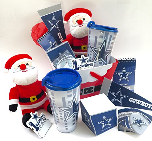 Dallas Cowboys Christmas Basket, inclides Cowboys Tumbler, Large paper note cube, playing cards, Memeo pad and more, For Dad at Christmas.