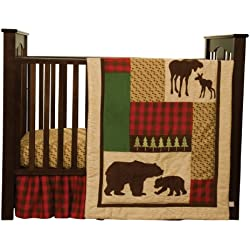 Trend Lab Northwoods 3 Piece Crib Bedding Set, Red/Tan/ Green