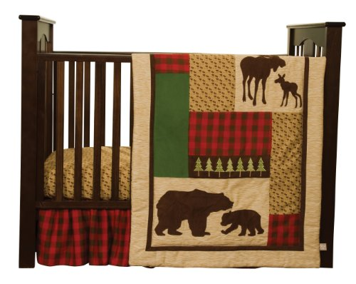 Trend Lab Cotton (Trend Lab Northwoods 3 Piece Crib Bedding Set, Red/Tan)