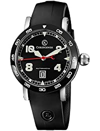 Time Master Mens Date Black Face Black Rubber Strap Watch Swiss Automatic CH-8643B