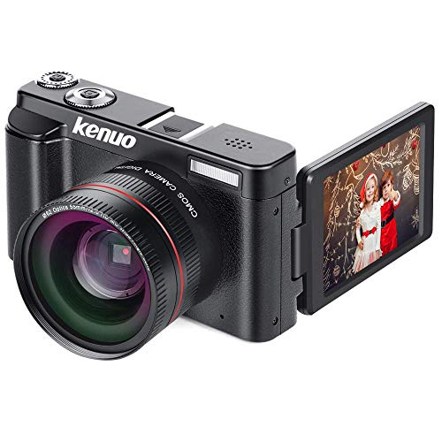 Digital Camera Camcorder, KENUO FHD 1080p Video Camera with Wide Lens MAX 24.0MP 3.0 Inch Vlogging Camera 180°Rotation Flip Screen 16X Digital Zoom Camera