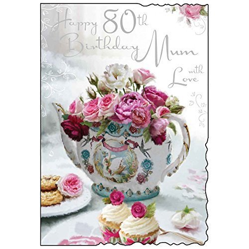 Happy 80th Birthday Mum Greeting Card Floral Teapot Design JJ – 80th Birthday Cards