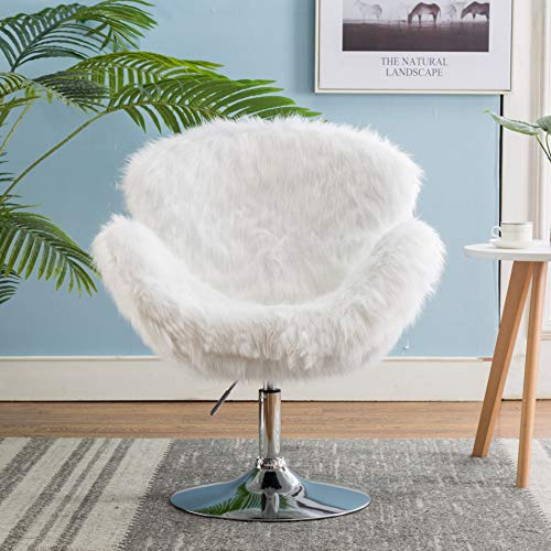 Faux Fur Swivel Makeup Stool, Modern White Swan Chair Long Hair Shaggy Dog Accent Chair for Living Room/Bedroom (Alabaster White) - 5