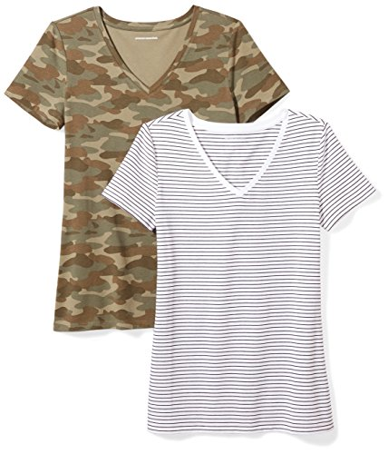 Amazon Essentials Women's 2-Pack Classic-Fit Short-Sleeve V-Neck Patterned T-Shirt, White Stripe/Camo Print, Medium