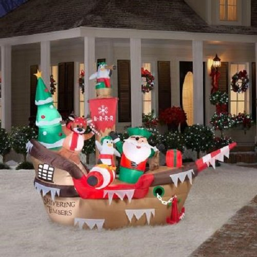 10 Ft. H Inflatable Giant Christmas Pirate Ship Scene by Home Accents Holiday