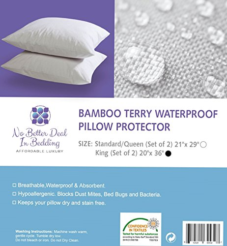 Bamboo Pillow Protector Cover Proof Hypoallergenic Eco friendly No product image