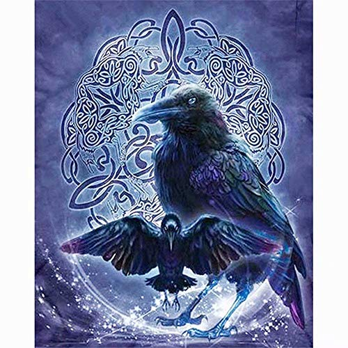 5D Diy Diamond Painting Kits - Black Crow?Full Drill Rhinestone Embroidery Cross Stitch Painting For Christmas Home Decor(Frameless)