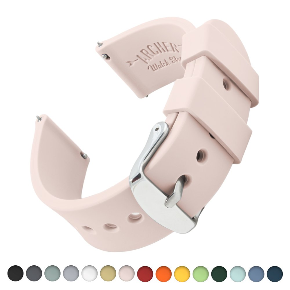 Archer Watch Straps Silicone Quick Release Soft Rubber Replacement Watch Bands for Men and Women, Watches and Smartwatches (Pale Rose, 18mm)