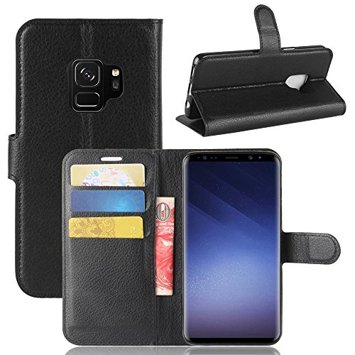 Samsung Galaxy S9 Case,MYLB Litchi Skin PU Leather [Wallet Flip Cover] [Card Holder] Stand Magnetic Folio Case for Samsung Galaxy S9 Smartphone (Black)
