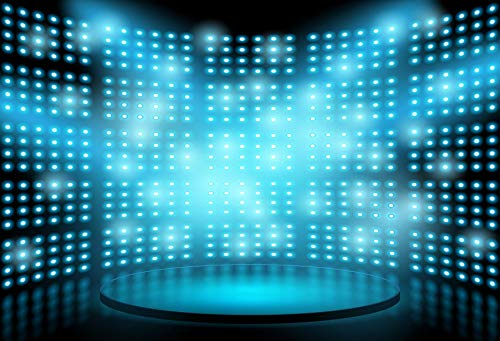 - Baocicco 5x3ft Dreamy Stage Backdrop Stage Lighting Scene Photography Background Computer Screen Blue Light Dots Futuristic Dotted Blue and Black Background Portrait Studio Prop Drapes