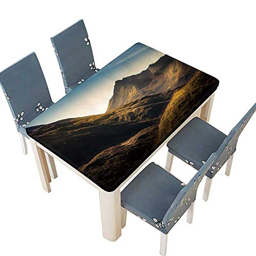 PINAFORE Fitted Polyester Tablecloth Mountains in Highland,Scotland for