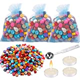 Augshy 300 Pcs Octagon Sealing Wax Beads with Stamps Seal Sealing Wax Melting Spoon and Sealing Wax Sticks Candles for Sealing Wax Stamp,21 Colors
