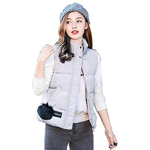 Zippercoat Grigio E Bozevon Donne Ragazze Antivento Inverno Outwear Piumino Pelo Di Autunno Gilet Maniche Senza Palla tYwSqtZx