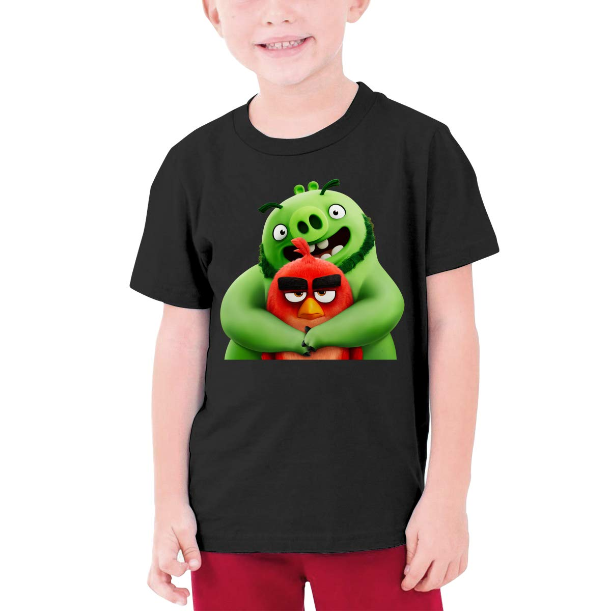 RuiPeng Custom Angry Birds Green Pigs and Red Birds Funny Shirt O-Neck for Youngster Black