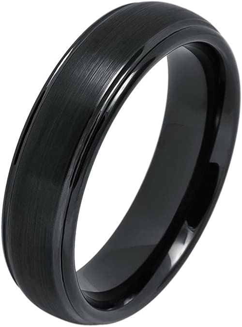 Tungsten Wedding Band 8mm Ring Domed Black IP Plated Brushed Center Grooved Edge
