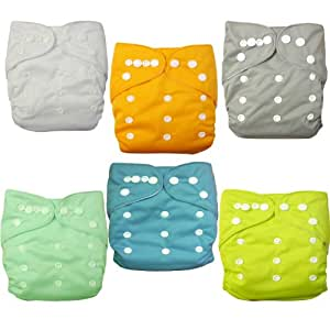 Love My® Baby Washable Reusable Cloth Diapers,breathable, Adjustable Snap, 6pcs Pack Pocket Cloth Diaper with 1 Inserts Each , 6 Pcs + 6 Inserts (Neutral Color)