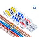 MONOLIT 50pcs Solder Seal Electrical Connectors, Waterproof Marine Automotive Wire Electrical Connector Kit, Electrical Wire Connectors Heat Shrink Butt Connectors (20 Red, 15 Blue, 10 White, 5 Yellow)