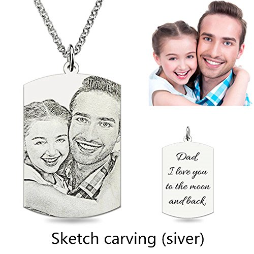 - a266XDKSJK Personalized Photo Necklace Customize Pendant Portrait Necklace Dog Tag Memorial Jewelry (Siver Rectangle-Sketch Engraving 16)